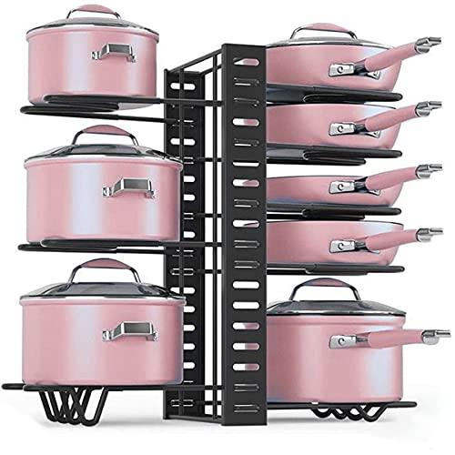 Estante de ollas, Organizador de ollas y sartenes de 8 capas, Organizador de sartenes para armario, 3 métodos de bricolaje, ajustable para almacenar y organizar gabinetes de cocina, ahorrando espacio en la cocina