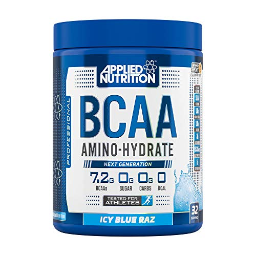 Applied Nutrition BCAA Powder Branched Chain Amino Acids Supplement with Vitamin B6, Replenish Electrolytes, Amino Hydrate Intra Workout and Recovery Powdered Energy Drink 450g (ICY Blue Raz)