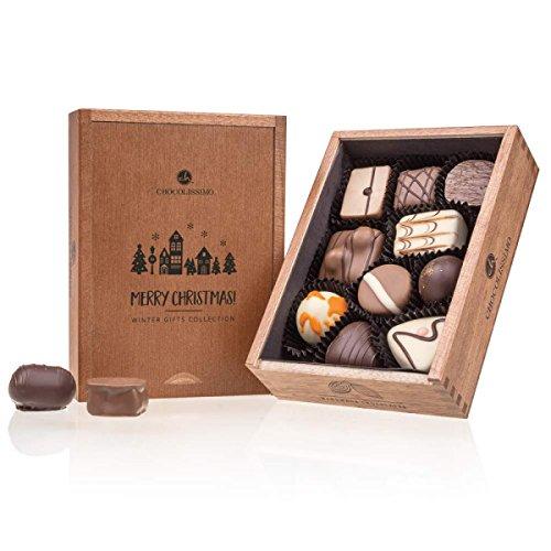 Merry Elegance - 10 bombones artesanales en una caja de madera | Navidad | Idea de regalo | Chocolate de navidad | Adultos