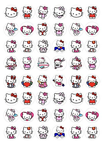 Cakeshop 48 x Hello Kitty Edible Cake Toppers