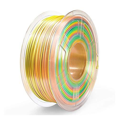 MMD SUNLU SILK PLA 3D Filament 1.75MM Plastic PLA Filament Silk Texture 3D Printing Materials 1KG With Spool (Color : Silk Rainbow02)