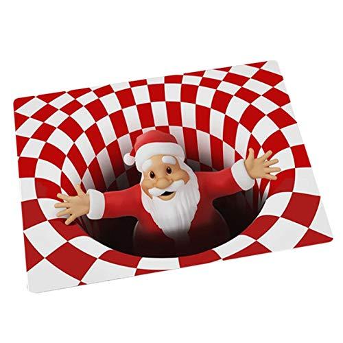 QKFON Christmas Rug 3D Vortex Carpet, Indoor Outdoor Christmas Decoration 3D Santa Vortex Illusion Doormat Flannel Carpet, Living Room Bedroom Door Floor Mat