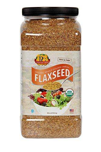 Premium Gold Whole Flax Seed, High Fiber Food, Omega 3, Organic, 96 Ounce