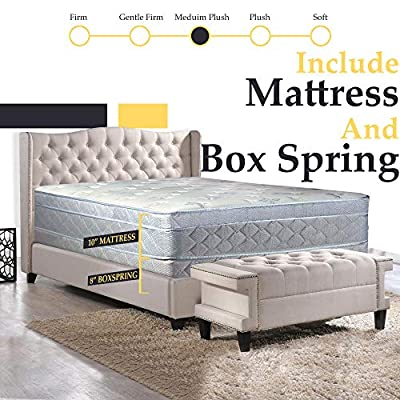 Foam Encased Eurotop Pillowtop Innerspring Fully Assembled Mattress and 8-Inch Wood Box Spring/Foundation Set, Good for The Back
