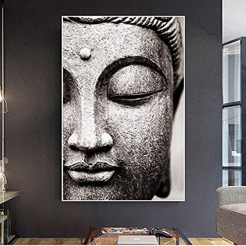 HYY-YY Estatua Pintura en Lienzo Arte de la Pared Carteles de Dios Impresiones Cara de Buda Vivo en Lienzo Decoración del hogar Zen...