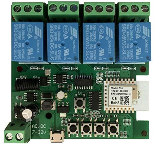 MHCOZY Interruptor de relé ZigBee de 4 canales, 12 V, autobloqueante, módulo interruptor de temporizador inteligente, funciona con Tuya Zigbee, Philips Hue, SmartThings y Alexa Google Home.