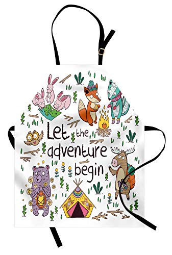 Lunarable Camping Apron, Let The Adventure Begin Words Moose Owl Hare and Foxes in Forest, Unisex Kitchen Bib with Adjustable Neck for Cooking Gardening, Adult Size, Ivory White