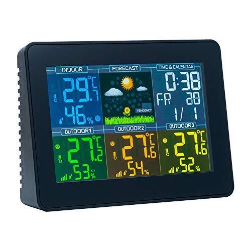 Mcbazel Digitale drahtlose Wetterstation mit Farbdisplay - 5,6-Zoll-Station Außenthermometer, Hygrometer-Display-Wetterstation mit Wecker, Temperaturmonitor. Mit Kalender und Hintergrundbeleuchtung