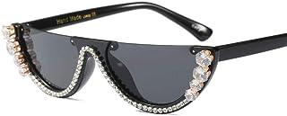Powzz ornament - Gafas de sol de ojo de gato sin montura de medio marco de cristal de moda Gafas de sol Gafas de sol para mujer Gafas de sol con diamantes de imitación