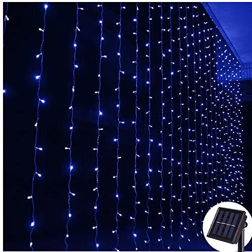 Lichtervorhang Solar Außen 2m x2m,Vorhang Lichterkette,8 Modus,200 LED Wand Fenster Hintergrund Dekor Lichterketten für Party Zuhause Garten pavillon Geburtstag Dekorationen,Dunkelgrünes Kabel-Blau
