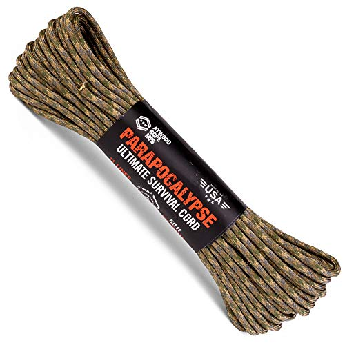 Atwood Rope MFG Parapocalypse Paracord 7-Strand Core with Fire Starter Waxed Jute, 10lb Mono Fishing Line, Dyna-x, and Kevlar Cord 625lb Test (Multi Cam, 50)