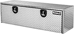 """Dimensions: 18""""(H) x 18""""(D) x 48""""(W) - # Latches: 2 Built tough with durable, corrosion-resistant, . 100 in. thick diamond tread aluminum for great weather resistance. Box contents are secured behind a recessed drop door with continuous hidden hinge...."""