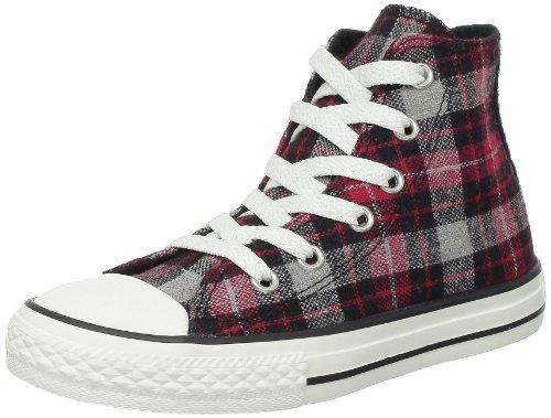 Converse Chuck Taylor All Star Plaid Hi 241580, Unisex - Kinder Sneaker, Schwarz (Noir/rouge plaid), 35 EU