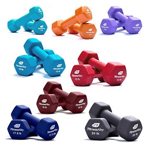 Fitness Alley Neoprene Dumbbell 8 Pairs Set Coated for Non Slip Grip - Hex Dumbbells Weight Set - Neoprene Hand Weight Pairs - Hex Hand Weights Neoprene Dumbbells Combo (3, 5, 8, 10, 12, 15, 17,20 lb