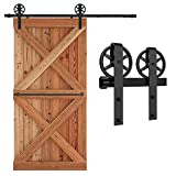 201cm/6.6FT Schiebetürbeschlag Set Schiebetürsystem Zubehörteil für Schiebetüren Innentüren, Schwarz/Sliding Barn Door Hardware Kit Big Spoke Wheel