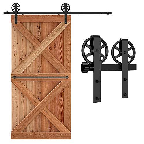 201CM/6.6FT puertas acero puerta corrediza de granero Hardware Herraje para Puerta de Granero Corredera de