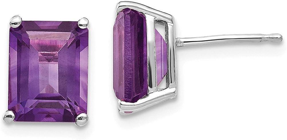 14k White Gold 9x7mm Purple Amethyst Post Stud Earrings Birthstone February Gemstone Fine Jewelry For Women Gifts For Her