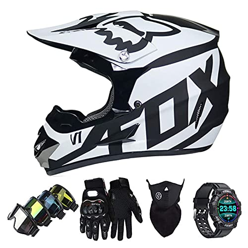 Casco Motocross Niño Set con Diseño FOX, Adulto y Juventud Integral Homologado Moto Cross Casco para Downhill ATV Enduro Off Road (Gafas+Máscara+Guantes+Reloj Inteligente)