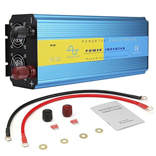 Terisass Convertidor de inversor de Corriente para Coche, 3000W DC 12V a AC 110V / AC 220V Inversor de Coche de Onda sinusoidal Pura con Salida de CA Dual, protección múltiple(AC220V)