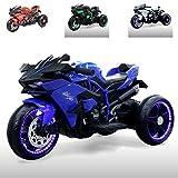 Moni Moto eléctrica Infantil Ninja Tres Ruedas de plástico, iluminación LED, Mp3, Color:Azul