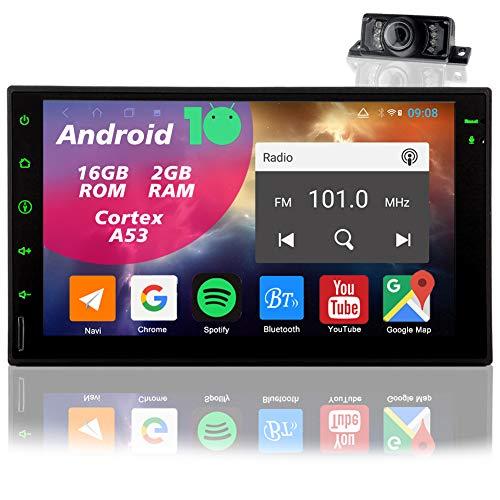 Android 10.0 Autoradio 2Din Radio Bluetooth Navigation Auto Radio Stereo GPS Sat Naviceiver Doppel Din 7 Zoll Touchscreen Moniceiver mit Rückfahrkamera Unterstützt FM/AM RDS WiFi SD AUX USB SWC