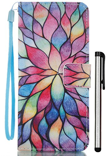 Aiyze for Samsung Galaxy S8 Case Wallet Cases Color Printed PU Leather Credit Card Holder Flip Cover with Free Stylus Gift (Lotus Flowers)