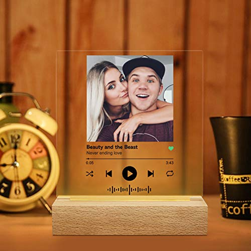 Luz de noche 3D personalizada Spotify Acrylic Song - Cubierta de álbum de acrílico con soporte - Placa de música con luz nocturna personalizada para regalos de cumpleaños del día de San Valentín