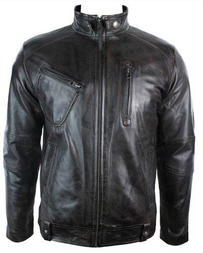 Hommes Manteau en Cuir véritable style Motard du genre retro casual, Brun, XX-Large