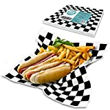 [250 Sheets] 12x12 Inch Deli Sheets Sandwich Wrap Paper - Black and White Checkered Food Basket Liners, Grease Resistant Perfect for Restaurants, Barbecues, Picnics, Parties, Kids Meal, Outdoor Fairs