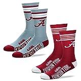 For Bare Feet Men's NCAA (2-Pack)-4 Stripe Deuce Crew Socks (Alabama Crimson Tide-2 Pack-Team Color & Grey, Medium (5-10))