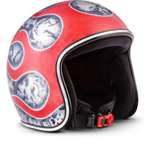 Rebel Helmets R3 motorhelm, glasvezel snelsluiting SlimShell tas XL (61-62cm) Vlammenrood.