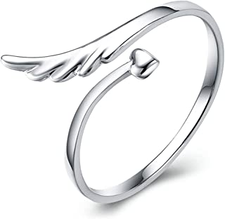 Open Adjustable Guardian Angel Wing Heart Finger Ring Fashion Exquisite Jewelry for Women