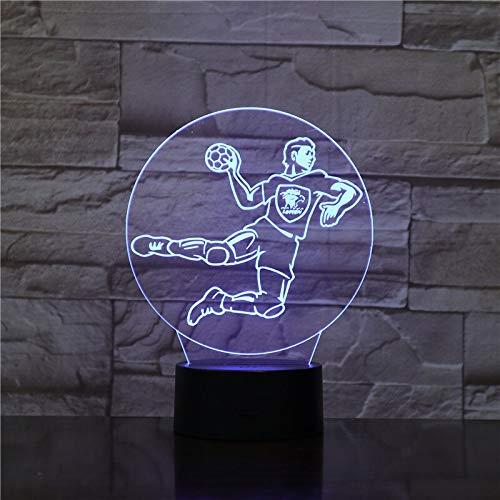 Jiushixw 3D-acryl-nachtlampje met afstandsbediening, kleur tafellamp handbal voor babytafel voor indoor rechts boot tractor tafel lamp koplamp