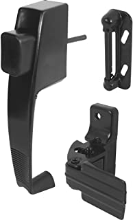 Prime-Line, K 5071 Push Button Latch w/ Tie Down, Single Unit, Black – Designed to Accommodate Multiple Surfaces, Complete with Night Lock, Contemporary Design