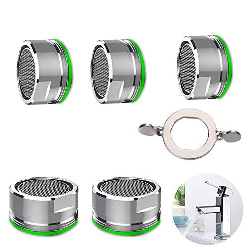 MIZOMOR 5 Stück Perlator Wasserhahn sieb Einsatz Strahlregler M24 Mischdüse mit ABS-Filter Perlatoren für Wasserhähne Küche Bad Silber