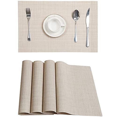 Uppsättning av 4 bordstabletter för middagsbord, tvättbara PVC-underlägg, bordstabletter för köksbord, återanvändbara värmebeständiga halkfria tvättbara vävda PVC-bordstabletter för kök, restaurang, matbord (beige)