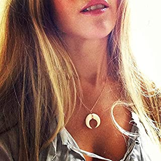 Jovono Boho Fashion Crescent Moon Pendants Necklaces Hammered Moon Necklace Jewelry for Women and Girls (Gold+Ivory)