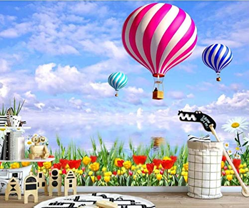 3D foto papel tapiz jardín naturaleza paisaje globo de aire caliente TV fondo pared decoración mural papel tapiz,400X280cm