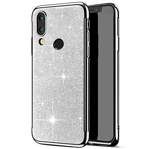 Compatible avec Huawei Honor 8X Coque,Placage Paillettes Brillante Bling Glitter de Luxeu Strass Coque Silicone TPU Souple Ultra-mince Anti Choc Bumper Housse Etui Protection Huawei Honor 8X,Argent