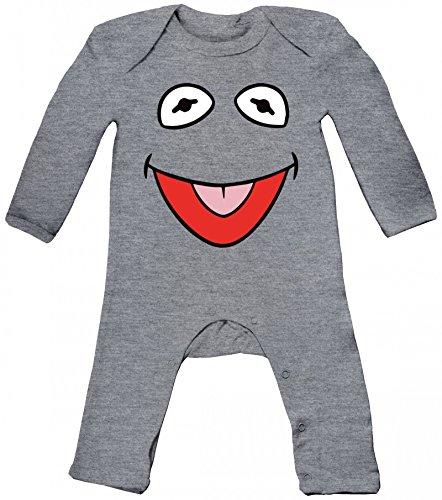 Fasching Karneval Verkleidung Baby Strampler Langarm Schlafanzug Jungen Mädchen Frosch Kostüm, Größe: 3-6 Monate,Heather Grey Melange