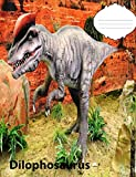 Dilophosaurus Dinosaur Dot Grid Composition Book: Dinosaur Fan, Writing, Graphs, Tables, Paper Games