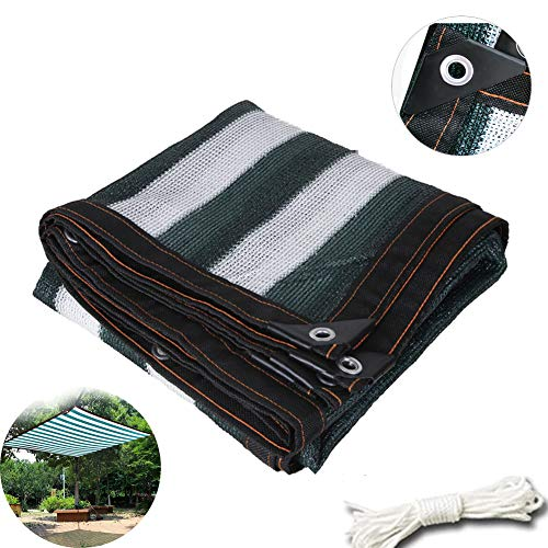 YYQ Dark Green-White Shade Cloth Shade Fabric 4m/13ft 3m/10ft Shade Fabric Net Lightweight Tarp with Grommets Sun Mesh Shade for Outdoor Pergola Cover Canopy RV