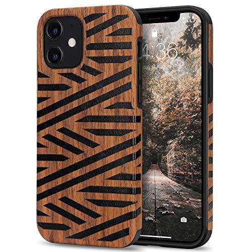 Preisvergleich Produktbild Tasikar Kompatibel mit iPhone 12 Mini Hülle Holz Design Hybrid Handyhülle Weiche Schutzhülle (Leder & Holz)