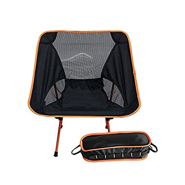 Hinsper Ultralight Portable Folding Camping Backpacking Chairs with Carry Bag-Super Lightweight for Outdoor Activities (Orange)