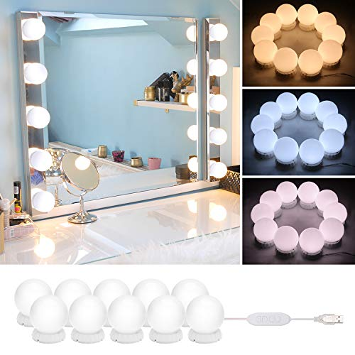 Timker Luces LED Kit de Espejo con 10 Bombillas regulables 3 Modos Ajustable de Color de Luz USB Luz Espejo Maquillaje,Tocador,Espejo,Baño,Regalo 3000K-6500K - Base de actualización