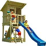 Blue Rabbit Spielturm Beach Hut mit Rutsche + Rampe mit Seil Kletterturm Holzturm Stelzenhaus mit Wasserrutsche, Fernrohr und Kletterrampe mit Seil (Podesthöhe 1,20 m, Blau)