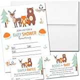 Set of 25 Baby Shower Invitations with Envelopes, Diaper Raffle Tickets and Baby Shower Book Request Cards - Woodland Animals