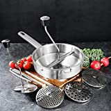 Stainless Steel Food Mill, Healthy Home Kitchen Fruit Vegetable Mill with 3 Milling Discs for Baby...