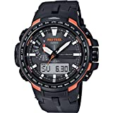 Casio Men's Multi-Dial Solar-Powered Watch with Carbon Fibre Bracelet PRW-6100Y-1ER