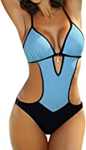 LHWY Bikinis Mujer Push Up, Tankini Trikini sólido Vendaje Acolchado Push up Halter Traje de baño una Piezas Conjunto Playa Vacaciones Monokinis Bañador para Mujer